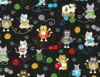FAT QUARTER FABRIC  CAT KITTY KITTENS  COLORFUL KNITTING CATS NOVELTY COTTON  FQ