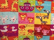 "Alphabet animal patchwork fleece fabric, 60"" by 33.5"""