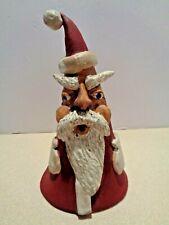Artist Made Santa Claus Figure Signed Red Clay Art Terra Cotta Pottery Folk Art
