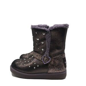 Sketchers Girl Snow Boots Purple Glitter Hearts Twinkle Toes Size 11