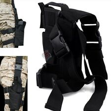 Tactical Gun Pistol Holster Drop leg Thigh Belt Hunting Elite Police Swat BLACK