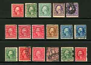 #386 - #489 1910-1916 1c-5c Washington-Franklin Coil Issues, Mostly Used