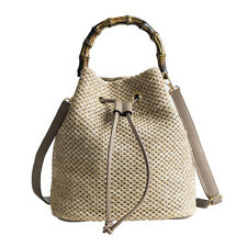 Women Bucket Shoulder Crossbody Bag Straw Summer Beach Drawstring Handbags