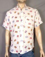 vtg 80s retro Men's Rayon Sailing Flags Nautical SS Button Down Shirt sz M/L