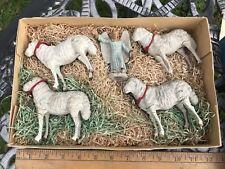 Rare Marolin Wood Figures Nazarene Style In Box Sheep & Angels Handmade German