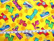 1 yd 100% Cotton Fabric Bright Yellow w/Platform Boots/Sneakers/Shoes w/Glitter