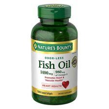 Nature's Bounty ODOR-LESS Fish Oil 1400mg, 980mg Omega-3 130 Coated Softgels USP