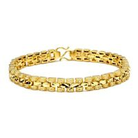 "Women's Bracelet Charm Chain 18K Yellow Gold Filled 7.3"" Fashion Link Jewelry"