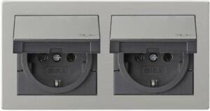 Gira E2 Edelstahl Doppel-Steckdose mit KD und Rahmen IP44 Komplettset