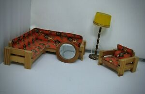Lundby vintage miniature den wood couch chair lamp mirror with cord and bulb