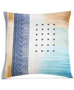 "Sunham Meredith 100% Silk 20"" x 20"" Geometric Decorative Pillow  Blue Multicolor"