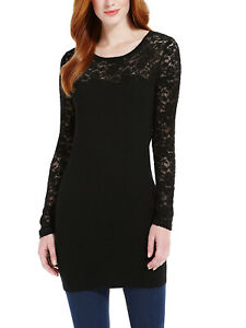 EX MARKS & SPENCER LACE TOP KNITTED TUNIC CHRISTMAS PARTY DRESS BLACK, £35