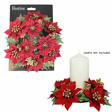 Red & Gold Artificial Poinsettia 20cm Candle Anneau Table Centrepiece