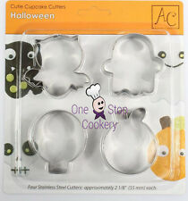 4 AC Metal HALLOWEEN Cake Decorating Cutters Skull Pumpkin Ghost Bat Art & Craft
