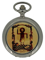 New Vintage Masonic Mechanical Silver Case Pocket Watch And Chain