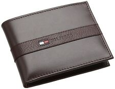 NEW TOMMY HILFIGER RANGER BROWN LEATHER PASSCASE CREDIT CARD BILLFOLD MEN WALLET