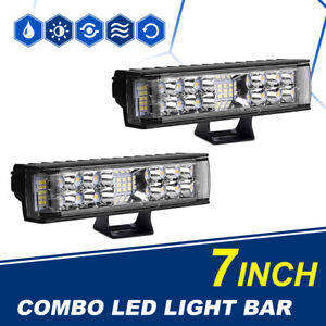 Pair 6.2Inch 712W LED Light Bar Flood Spot Combo Offroad Truck Pods Lamp SUV 4WD