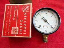 Vintage Nos Ashcroft Gauge 2 12 1002 Brass White Face 0 30 Lb Vacuum Gauge