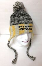 vtg-look PITTSBURGH STEELERS PERUVIAN POM BEANIE Beige&Gray&Yellow Striped ADULT