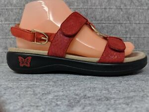 Alegria Julie JUL 219 Red Shimmer Slingback Comfort Sandals Womens Size 38-8/8.5