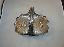 Antique Meriden silver plate basket tray hand hammered 19th