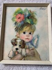 1960's Picture Of Girl And Puppy Wooden Framed Vintage Retro
