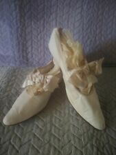 1900's Antique French Edwardian Wedding Shoes-Slippers Silk Bows-Woman's White