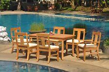 "7pc Grade-A Teak Dining Set 60"" Rectangle Table 6 Osborne Chair Outdoor Patio"