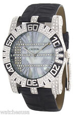 Croton Mens Mother of Pearl Dial Black Leather Strap Crystal Watch CN307232