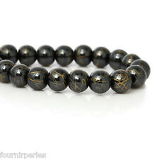1 Enfilade Perles intercalaire Rond Hématite Noir+Doré Accessoir 8mm