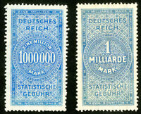 Germany Stamps Mint Lot of 2x 1,000,000 Revenues SCARCE