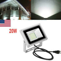 20W LED Flood Light Cool White With US Plug Outdoor Yard Floodlights Lamp 110V