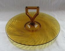 IMPERIAL DEPRESSION GLASS AMBER TWISTED OPTIC Y HANDLED SANDWICH TRAY