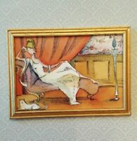 Dollhouse miniature framed print of painting of woman w/cat by Nicole Wong