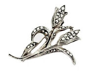 Vintage 835 Silver & Marcasite TULIP Brooch - GIFT BOXED