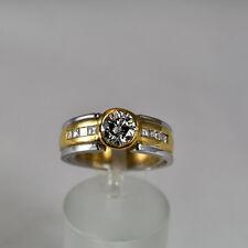 Brillant Ring 0,76ct Gelbgold 750 Größe 56 8 Diamanten Princess Cut 0,30ct