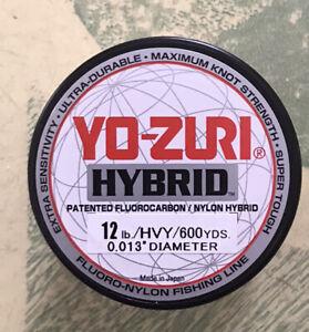 Yo-zuri Hybrid Fluorocarbon Fishing Line 12lb Hivis Yellow 600yd