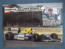"22"" x 16"" POSTER - 1991 WILLIAMS F1 NIGEL MANSELL - CHAMPION SPARK PLUGS"
