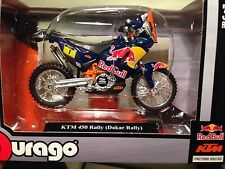 KTM 450 RALLY Motorcycle 1/18 Paris Dakar Bburago Redbull