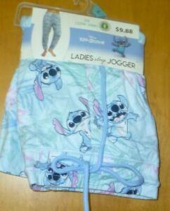 New Womens Size 3X (22W/24W) Blue Pull On Sleep Jogger Pants Lilo & Stitch