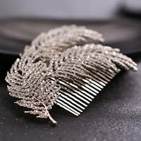 Bridal Wedding Silver Crystal Rhinestone Diamante Leaves Hair Clip Comb Jewelry