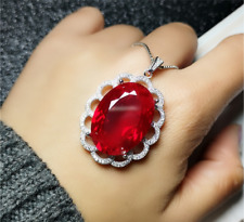 large oval ruby necklace 18x25mm sterling silver pendant gift to girlfriend