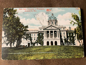 Madison WI Main Hall University Of WI Printed postcard Wisconsin Early 1900's