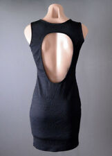 Black Womens Office Work Business Open Back Cut Out Bodycon Fitted Mini Dress L