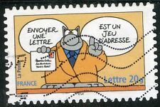 TIMBRE FRANCE  AUTOADHESIF OBLITERE N° 58 SOURIRES / LE CHAT / PHILIPPE GELUCK