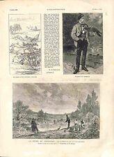 Pêche aux Cormorans Cormoran de la Fauconnerie Pêcheur / Japon GRAVURE 1882