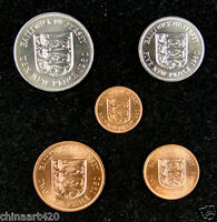 BAILIWICK OF JERSEY coins set of 5 pieces 1980 UNC