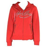 Women's Harley Davidson Full Zip Hoodie Emblished Sweatshirt Red Size Small