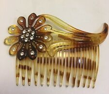 Vintage Faux Tortoise Rhinestone Flower Comb Made In USA