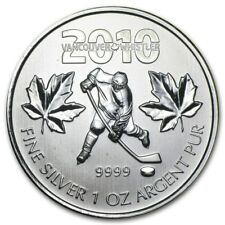 Canadian Maple Leaf 2010 Vancouver Olympics Ice Hockey 1 oz .9999 Silver Coin